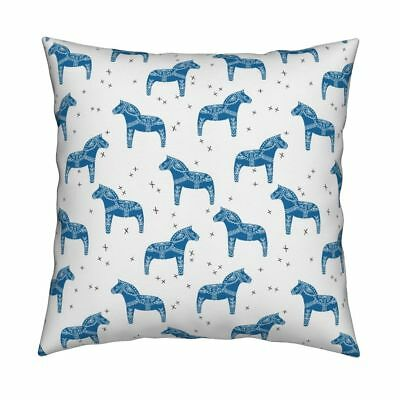 Dala Horse Dala Swedish Throw Pillow Cover w Optional Insert by Roostery