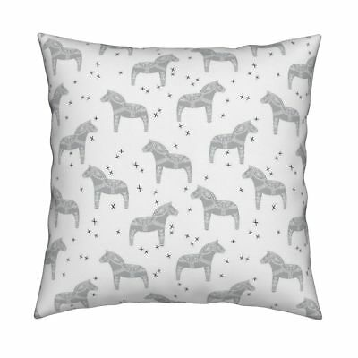 Dala Horse Horse Swedish Black Throw Pillow Cover w Optional Insert by Roostery