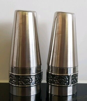 Wiltshire Burgundy Stainless Steel Salt and Pepper Shakers Silver Retro