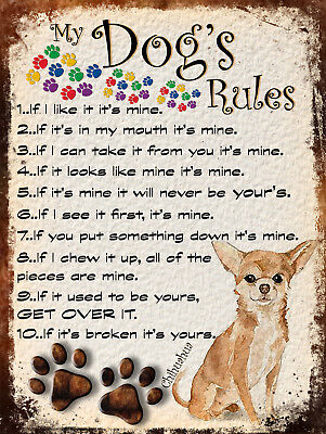 My Dog's Rules Retro Style Metal Tin Sign Chihuahua Theme (15Dr)
