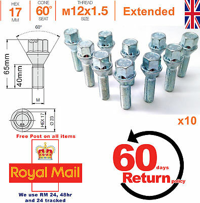 M12x1.5 40mm extended thread taper seat alloy wheel spacer bolts - Seat x 10