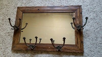 Antique Vintage Oak Frame Mirror with Hat / Coat Racks