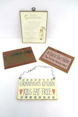 Lot of 4 Wooden Wall Hanging Plaque Signs Grandma Grandmother Kitchen Children