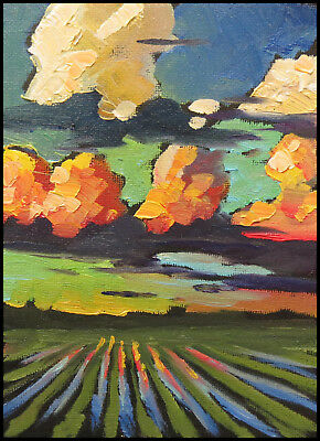 Wm HAWKINS  Clouds  Abstract  Farm Midwest Modern Oil Art Impressionist Painting