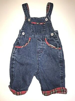 Small Wonders Baby Boy Blue Jean Red Flannel Bib Overalls 0-3 Months EUC