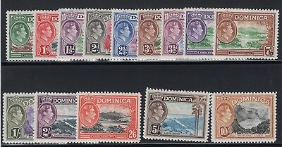 1938-47 Dominica. SC#97-110, SG#99-109. Mint, Lightly Hinged, VF