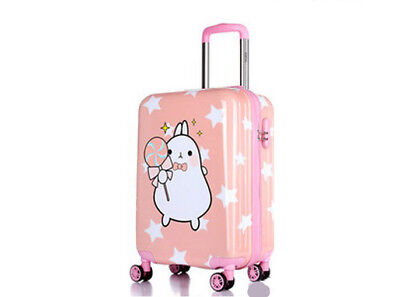 E46 Pink Cartoon Rabbit Universal Wheel Suitcase Luggage Trolley 18 Inches W