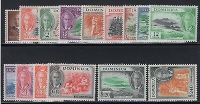 1951 Dominica. SC#122-136, SG#120-134. Mint, Lightly Hinged, VF