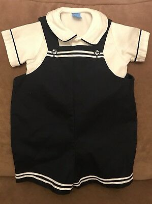 Infant/toddler Navy And White Nautical Outfit Size 12 Mos.
