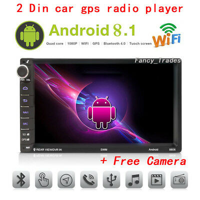 """Android 8.1 Car Stereo Radio GPS 2 DIN 7"""" MP5 Player 3G Wifi BT + Rear Camera"""