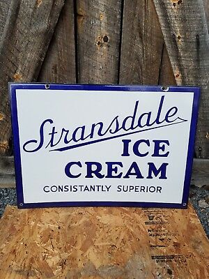 Original Stransdale Ice Cream Sign. Double Sided. Porcelain. Clean!
