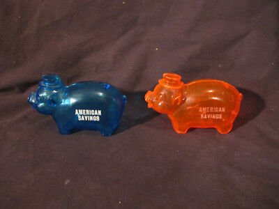 2 vintage Blue Red Neon Plastic Piggy Bank with hat american savings advertising