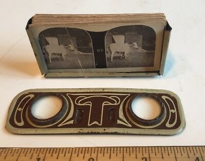 Antique Mini Stereoscopic Stereoscope Viewer With 44 History Slides Parts Repair