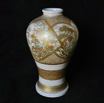 "Antique Japanese Satsuma Porcelain Vase 4 Panel 5.75"" Gold Decoration Kinkozan?"