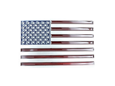 Patriotic American USA Flag Silver Tone Enamel Metal Belt Buckle