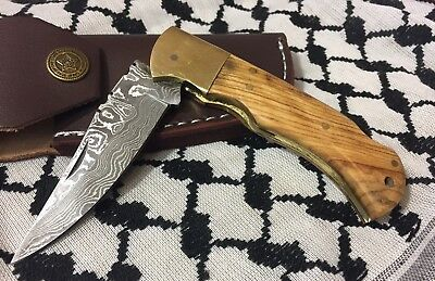 Hand Made Real Damascus Knife Folding Knife Pocket Knive Brown Wood Handle
