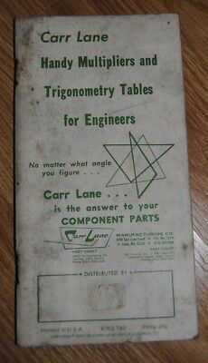 Carr Lane Handy Multipliers and Trigonometry Tables for Engineers 1982