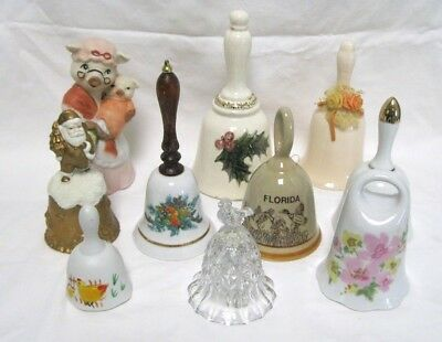Vintage Bells Lot of 10 Florida Porcelain Glass Christmas Collectibles Mixed