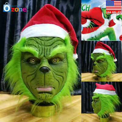 US! Grinch Stole Christmas Latex Mask With Long Hair Xmas Hat Helmet Party Props