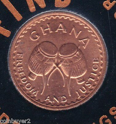 "1967 Ghana ½ Pesewa   KM#12  **Uncirculated Sealed Coin - ""FREEDOM & JUSTICE"""