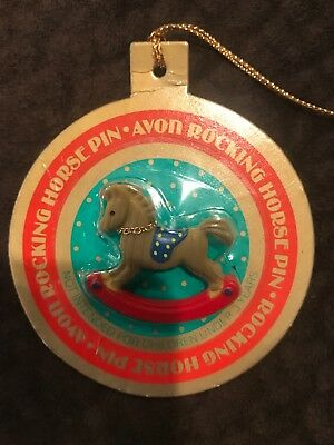 Vintage AVON Rocking Horse Pin in Christmas Ornament Package 1985 Brooch NOS NIP