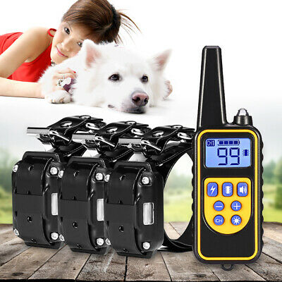 Pet Dog Training Collar Rechargeable Electric Remote 800m Blue LCD screen Shock