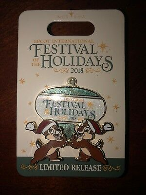 Disney Epcot Festival Of The Holidays 2018 Chip & Dale Limited Pin