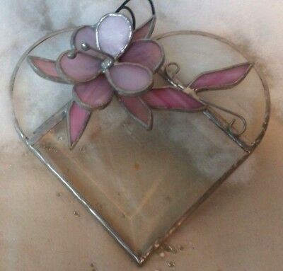 Stained Glass Heart with Pink Flower Ornament