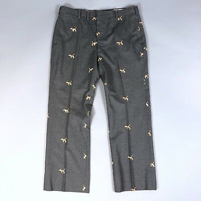 Vintage Brooks Brothers Mens Gray Wool Embroidered Critter Dog Pants Size 36x28
