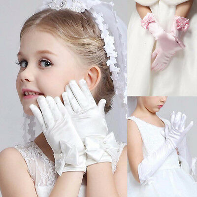 Child Kid Baby Girl Elbow Long/Short Party Gloves Wedding Pageant Formal Evening