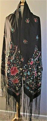chinese Silk Piano Scarf Vtg Shawl Embroidered Floral Fringed birds butterflies