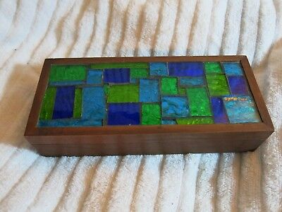Vintage Georges Briard Mid Century Modern Stained Glass Mosaic & Wood Box