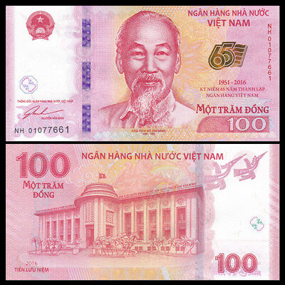 Vietnam Viet Nam 100 Dong 2016 P 125 New Unc 65th
