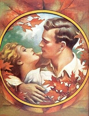 Victorian Trading Co Fire of Love Couple Autumn Leaves Blank Note Cards Pack 6