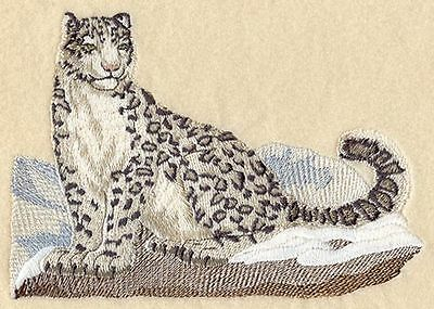 """Snow Leopard, Wild Animal, Exotic Cat Embroidered Patch 6.8""""x 4.7"""""""