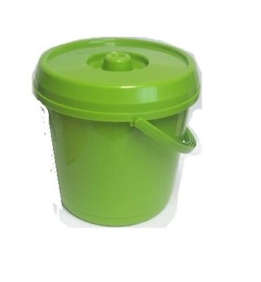 14L Plastic Handy Storage Bucket With Lid Nappy Bin Pet Food Container GREEN