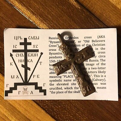 Medieval Cross Pendant Byzantine Russian Artifact Calvary Orthodox Jesus Old 2