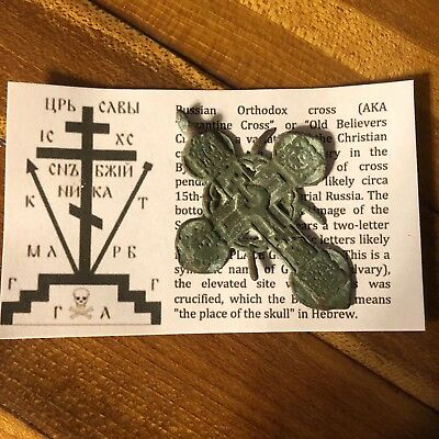 Medieval Cross Pendant Byzantine Russian Artifact Calvary Orthodox Jesus Old 3