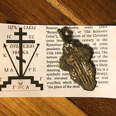 Medieval Cross Pendant Byzantine Russian Artifact Calvary Orthodox Jesus Old 8