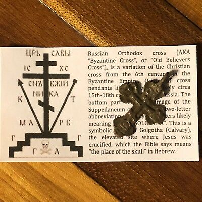 Medieval Cross Pendant Byzantine Russian Artifact Calvary Orthodox Jesus Old 11