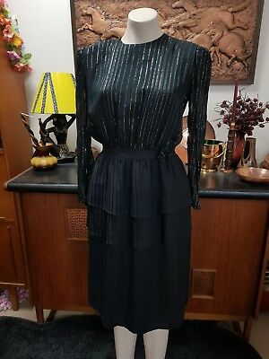 Ladies Black Vintage Cocktail Dress 1980s