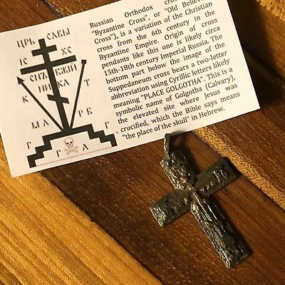Medieval Cross Pendant Byzantine Russian Artifact Calvary Orthodox Jesus Old 7