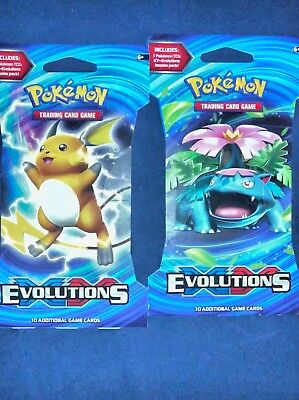 Pokemon Cards - XY Evolutions - Booster Packs (2 Pack Lot) - New Sealed