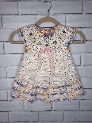 Handmade Crochet Knit Baby Girl Dress Pastels Roses Sz 0-6 Months Vintage