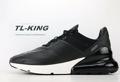 Nike Air Max 270 Premium Leather Black Light Carbon Sail AO8283-001 Msrp $170 BI