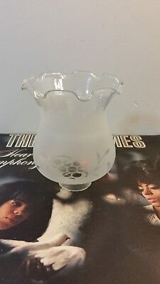 Vintage Antique  Frosted Etched Glass Ruffled Lamp Shade