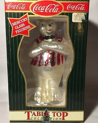 "Coca Cola Mercury Glass Polar Bear Table Top Figurine With Box 10"" Christmas"