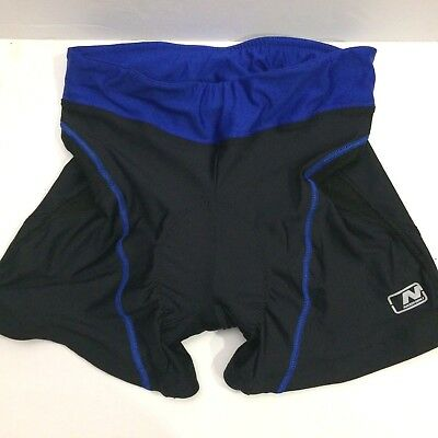 96126b866 NISHIKI Black and Blue Padded Cycling Shorts Womens Small Bicycle Adult