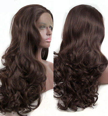 """AU 24"""" Brown Synthetic Fiber Hair Handtied Lace Front Wig Long Curly Wavy"""