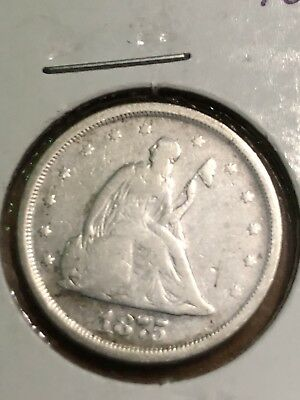 1875-S Silver Seated Liberty Twenty Cent Piece 20c, Nice Condition